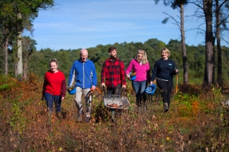 Volunteer work party on heathland