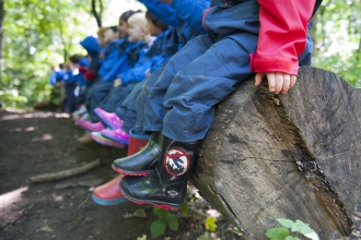 Children at Forest School session in woodland