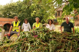 Riversearch volunteers clearing invasive Himalayan balsam