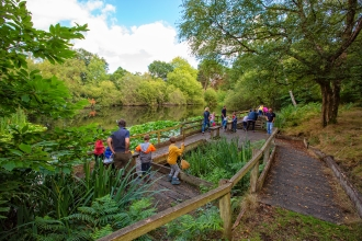 Children pond dipping at Nower Wood