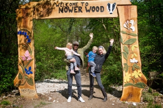 Happy family at Nower Wood