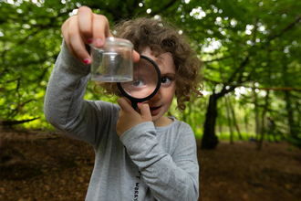 A girl is in the woodlands, looking through a magnifying glass at a minibeast in a pot
