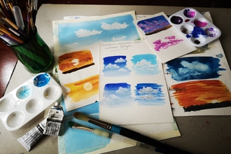 painting skies with watercolour