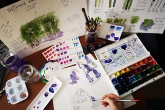 watercolours - painting bluebells