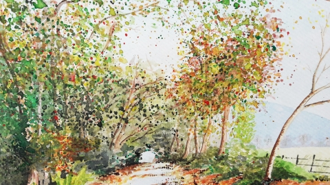 Autumn Lane in Watercolour