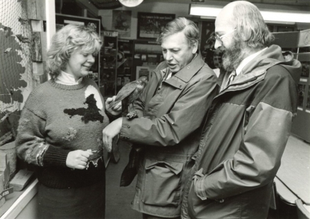 David Attenborough at Nower Wood in 1985
