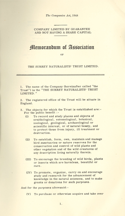Memorandum of Association 1959