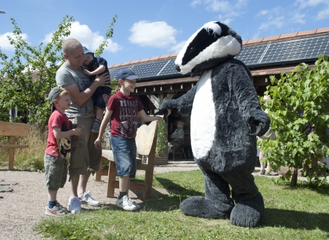 Wildlife Trusts badger mascot with family
